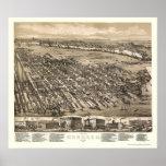 Hoboken, mapa panorámico de NJ - 1881 Impresiones