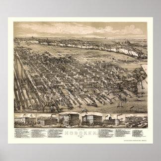 Hoboken, mapa panorámico de NJ - 1881 Póster