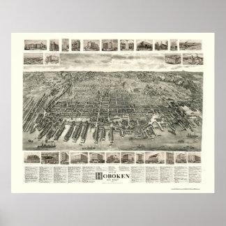 Hoboken, mapa panorámico de NJ - 1904 Posters