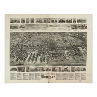 Hoboken New Jersey 1903 Antique Panoramic Map Poster