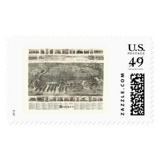Hoboken, NJ Panoramic Map - 1904 Postage Stamp