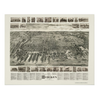 Hoboken, NJ Panoramic Map - 1904 Poster