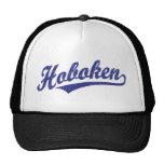 Hoboken script logo in blue distressed hats