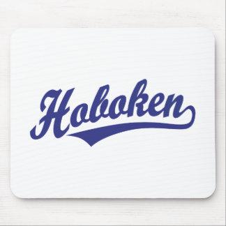 Hoboken script logo in blue mouse pad
