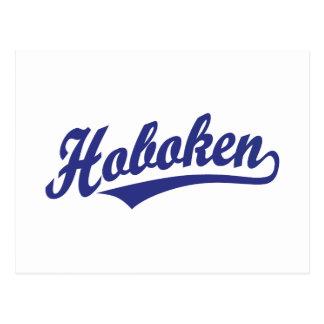 Hoboken script logo in blue post cards