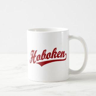 Hoboken script logo in red mugs