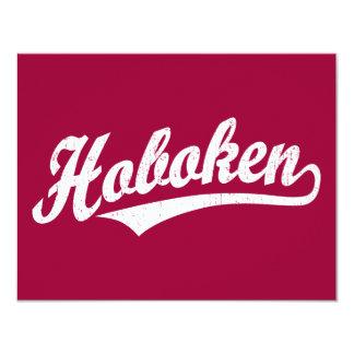 Hoboken script logo in white distressed card