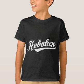 Hoboken script logo in white distressed T-Shirt