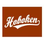 Hoboken script logo in white postcard