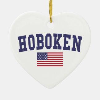 Hoboken US Flag Ceramic Ornament