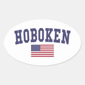 Hoboken US Flag Oval Sticker