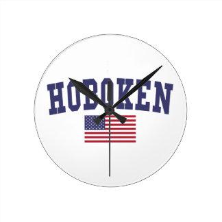 Hoboken US Flag Round Clock