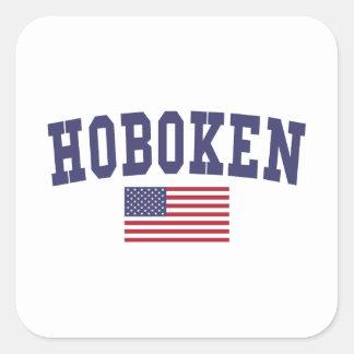 Hoboken US Flag Square Sticker