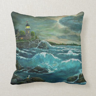 Hobson's Lighthouse by Ave Hurley Throw Pillow