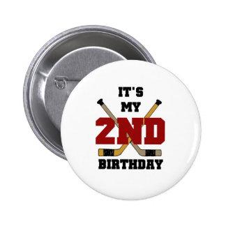Hockey 2nd Birthday Pinback Buttons