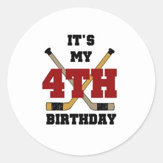 Hockey 4th Birthday Classic Round Sticker