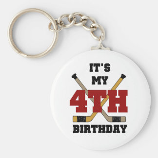Hockey 4th Birthday Tshirts and Gifts Keychain