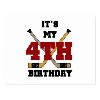 Hockey 4th Birthday Tshirts and Gifts Postcard