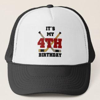 Hockey 4th Birthday Tshirts and Gifts Trucker Hat