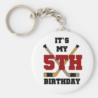 Hockey 5th Birthday Tshirts and Gifts Basic Round Button Keychain