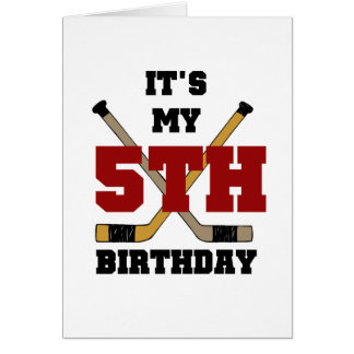 Hockey 5th Birthday Tshirts and Gifts Card