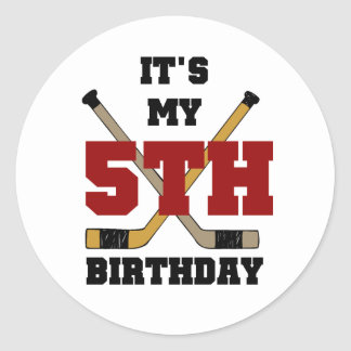 Hockey 5th Birthday Tshirts and Gifts Classic Round Sticker