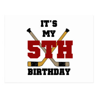 Hockey 5th Birthday Tshirts and Gifts Postcard