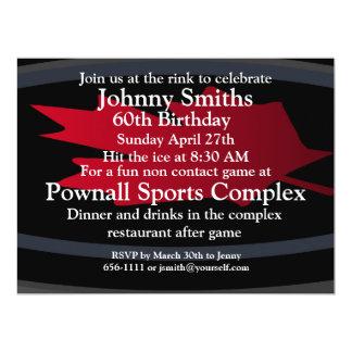 Hockey 60th. birthday invitation. 6.5x8.75 paper invitation card