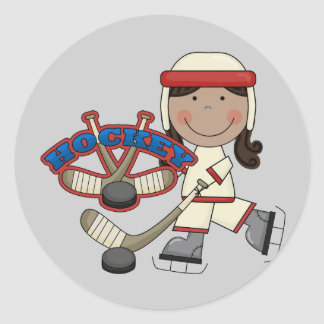 HOCKEY - African American Girl Tshirts and Gifts Round Sticker