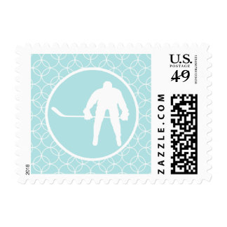 Hockey; Baby Blue Circles Postage Stamps
