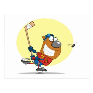 Hockey-Bear-Player Postcard