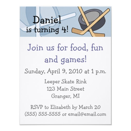 Hockey Birthday Party Invitations 4.25 in