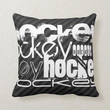 Hockey; Black & Dark Gray Stripes Throw Pillow