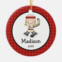 Hockey Blonde Girl Kids Personalized Christmas Double-Sided Ceramic Round Christmas Ornament