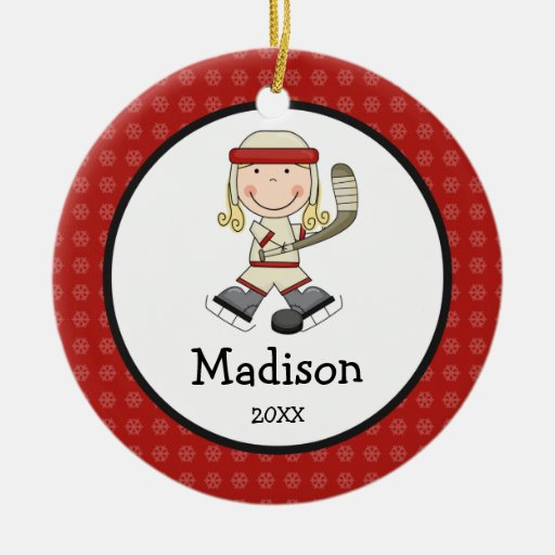 Hockey Blonde Girl Kids Personalized Christmas Christmas Tree Ornament