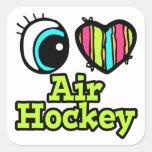 Hockey brillante del aire del amor del corazón I Calcomanías Cuadradas
