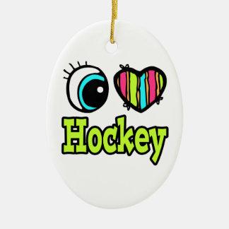Hockey brillante del amor del corazón I del ojo Adorno Ovalado De Cerámica