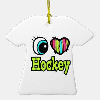 Hockey brillante del amor del corazón I del ojo Adorno De Cerámica En Forma De Camiseta