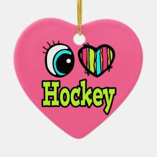 Hockey brillante del amor del corazón I del ojo Adorno De Cerámica En Forma De Corazón