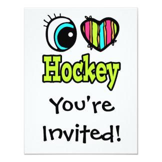 """Hockey brillante del amor del corazón I del ojo Invitación 4.25"""" X 5.5"""""""