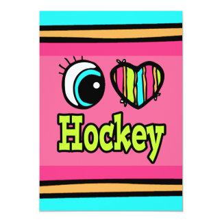"""Hockey brillante del amor del corazón I del ojo Invitación 5"""" X 7"""""""