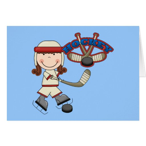 HOCKEY - Brunette Girl Tshirts and Gifts Greeting Card