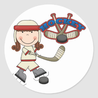 HOCKEY - Brunette Girl Tshirts and Gifts Classic Round Sticker
