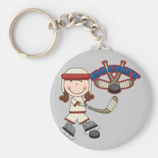HOCKEY - Brunette Girl Tshirts and Gifts Keychain