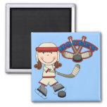 HOCKEY - Brunette Girl Tshirts and Gifts Fridge Magnets