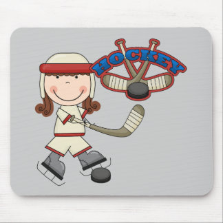 HOCKEY - Brunette Girl Tshirts and Gifts Mouse Pad