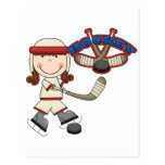 HOCKEY - Brunette Girl Tshirts and Gifts Postcard