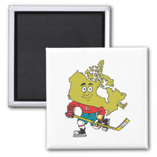 Hockey canadiense divertido imán de frigorífico