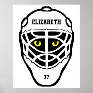 Hockey Cat Eyes Helmet Poster