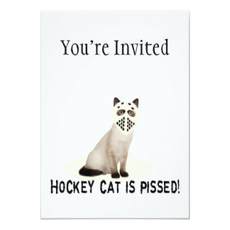 Hockey Cat Pissed 5x7 Paper Invitation Card